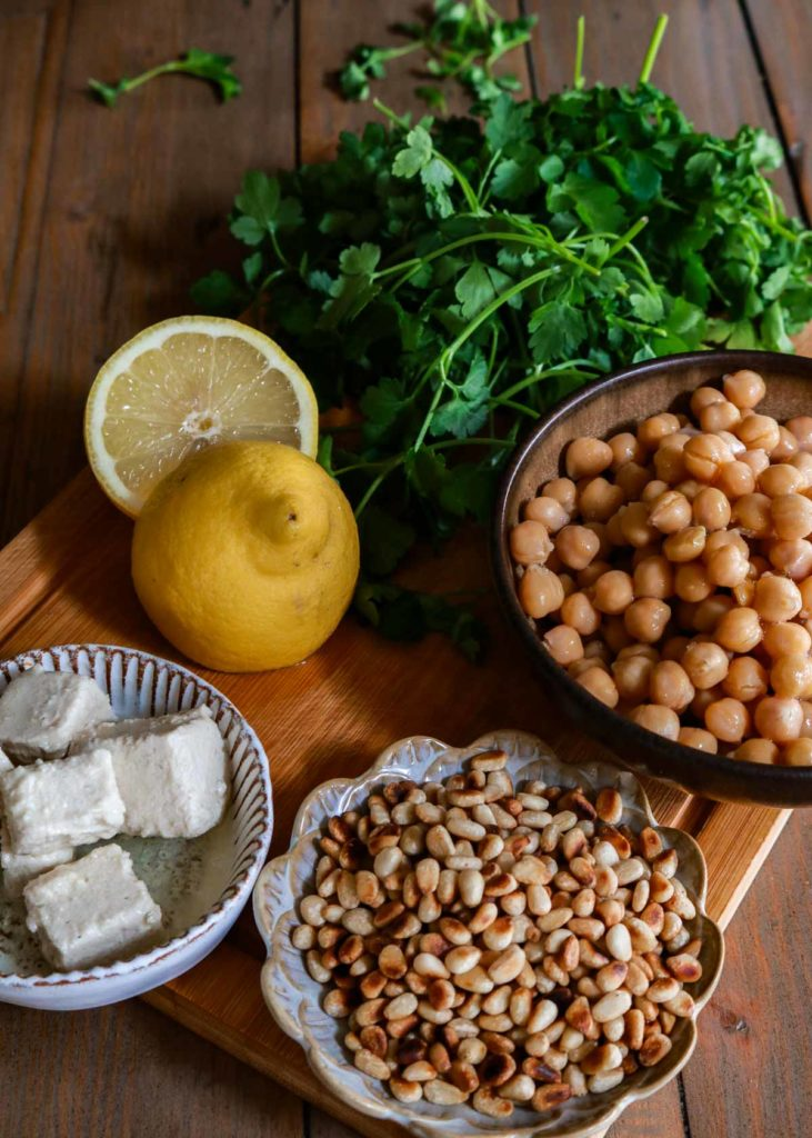 Image showing pine nuts, chickpeas, vegan feta and parsley