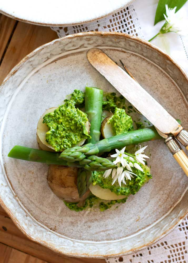 Asparagus, New Potatoes and Wild Garlic Pesto on a plate looking down