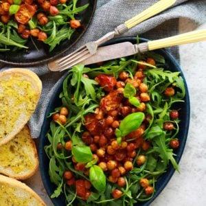Easy vegan Harissa Roasted Chickpea & Tomato Salad