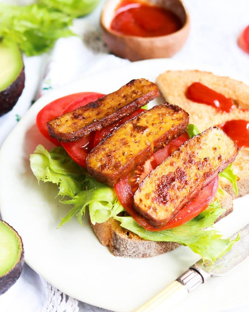 Tofu 'Bacon' on bread with tomato and lettuce