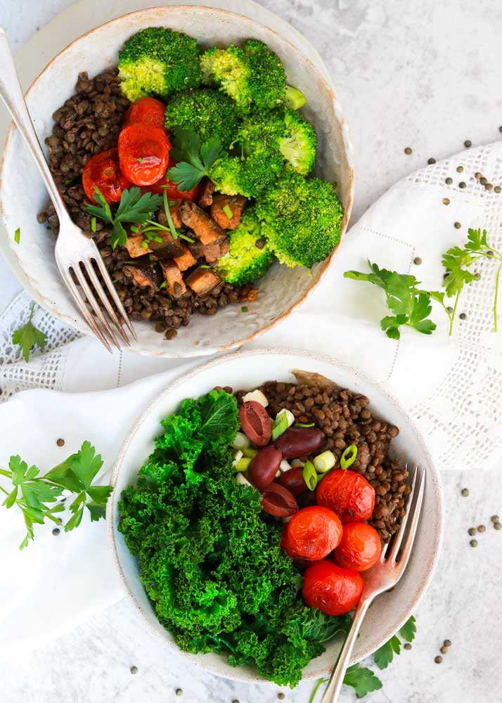 Lentil Bowls with different toppings