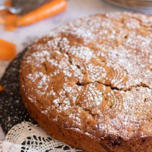Close up of vegan carrot cake