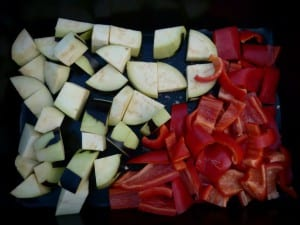 Aubergine & Peppers In the pan to roast