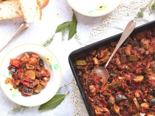 Easy Roasted Ratatouille on a tray & being served into bowls