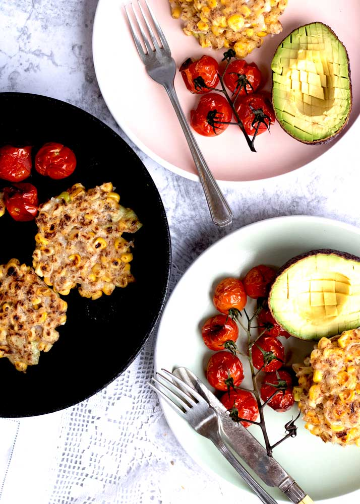 Corn Fritters on plates for two