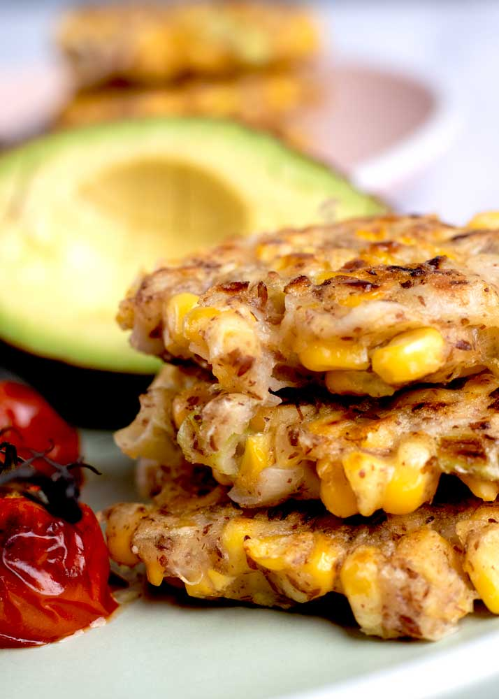 Corn Fritters close up on a plate