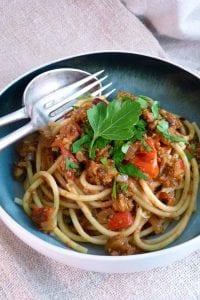 Vegan Spaghetti Bolognese with soya mince