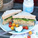 Chickpea Tuna Sandwich with Rubies in the Rubble Mayo and spoon