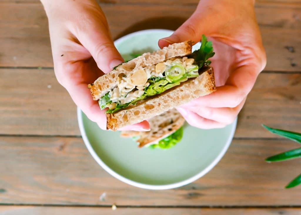 Assemble your vegan chickpea tuna sandwich.