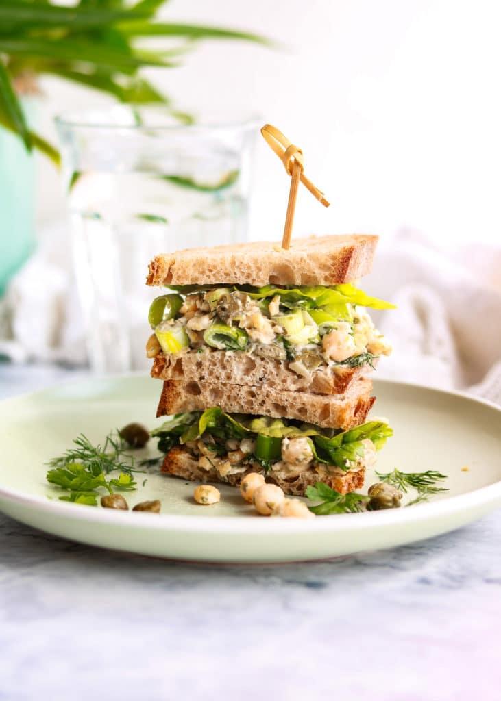 Vegan Chickpea tuna sandwiches stacked up.