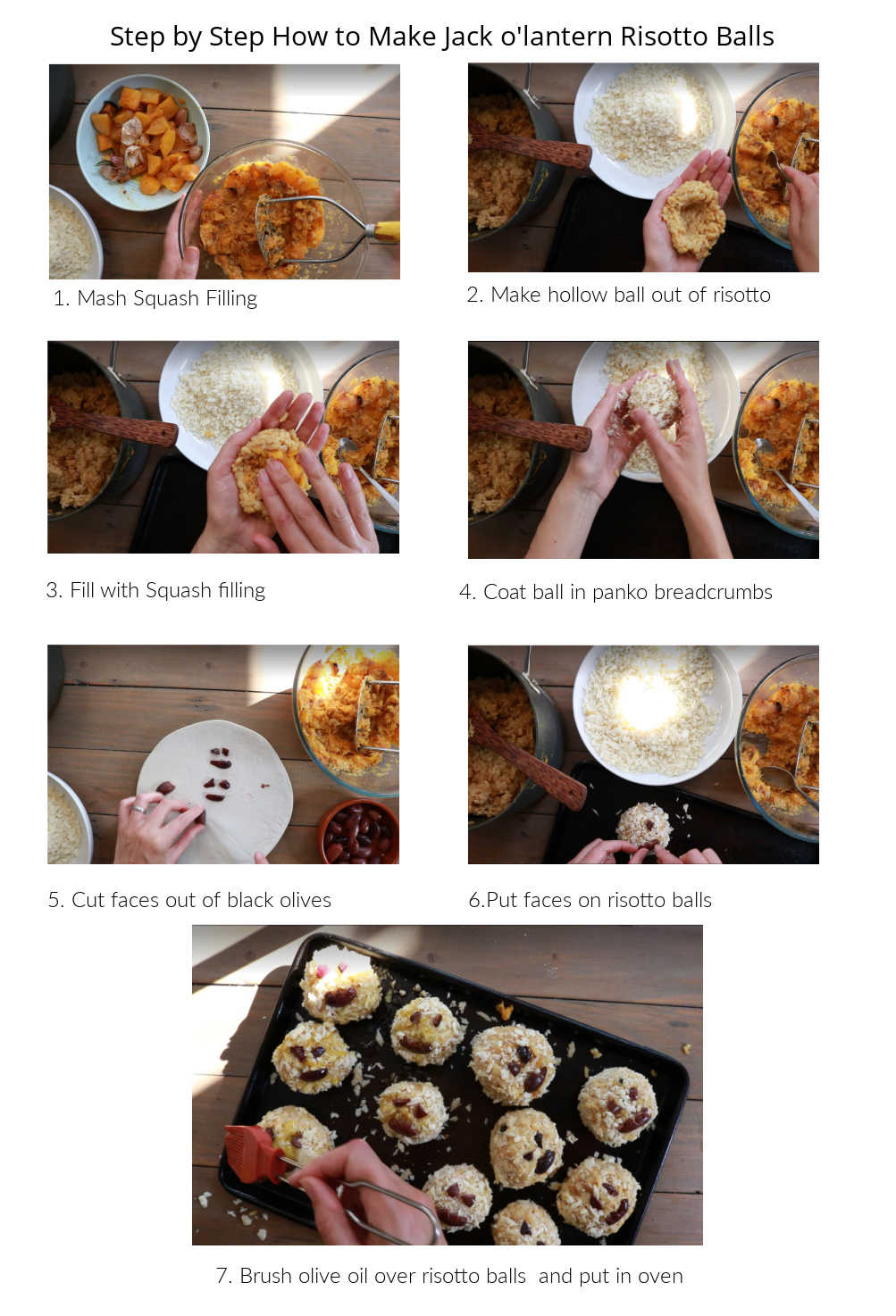 Visual How To make the Jack O Lantern Risotto Balls