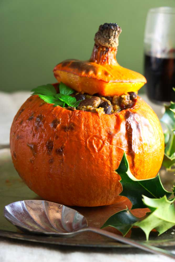 Whole Roasted Pumpkin with Smokey Bean Chilli