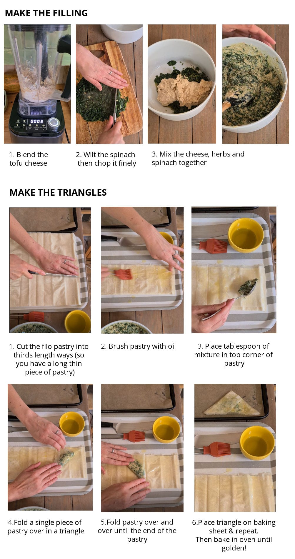 Step by step picture guide how to make the cheezy spinach triangles.