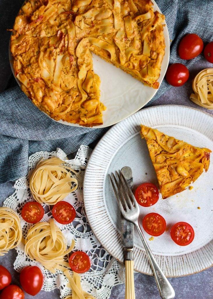 Vegan Pasta Frittata on a plate.