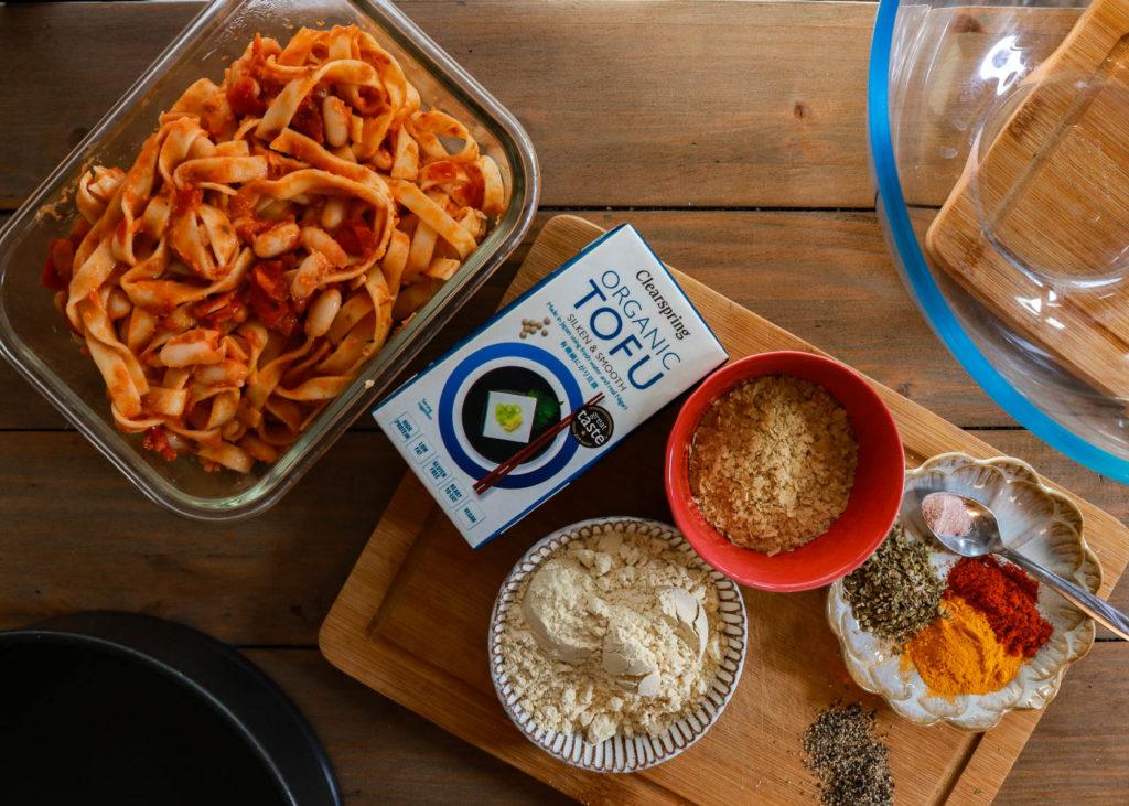 Image of pasta fritatta ingredients