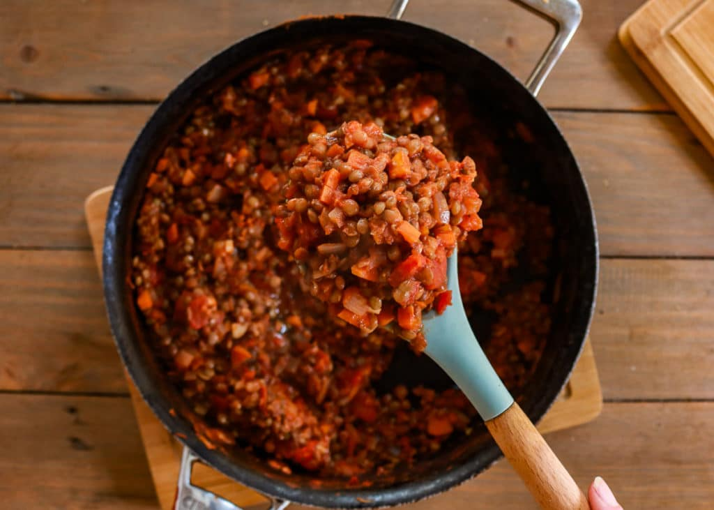 Cooked Lentil bolognese ready to eat.