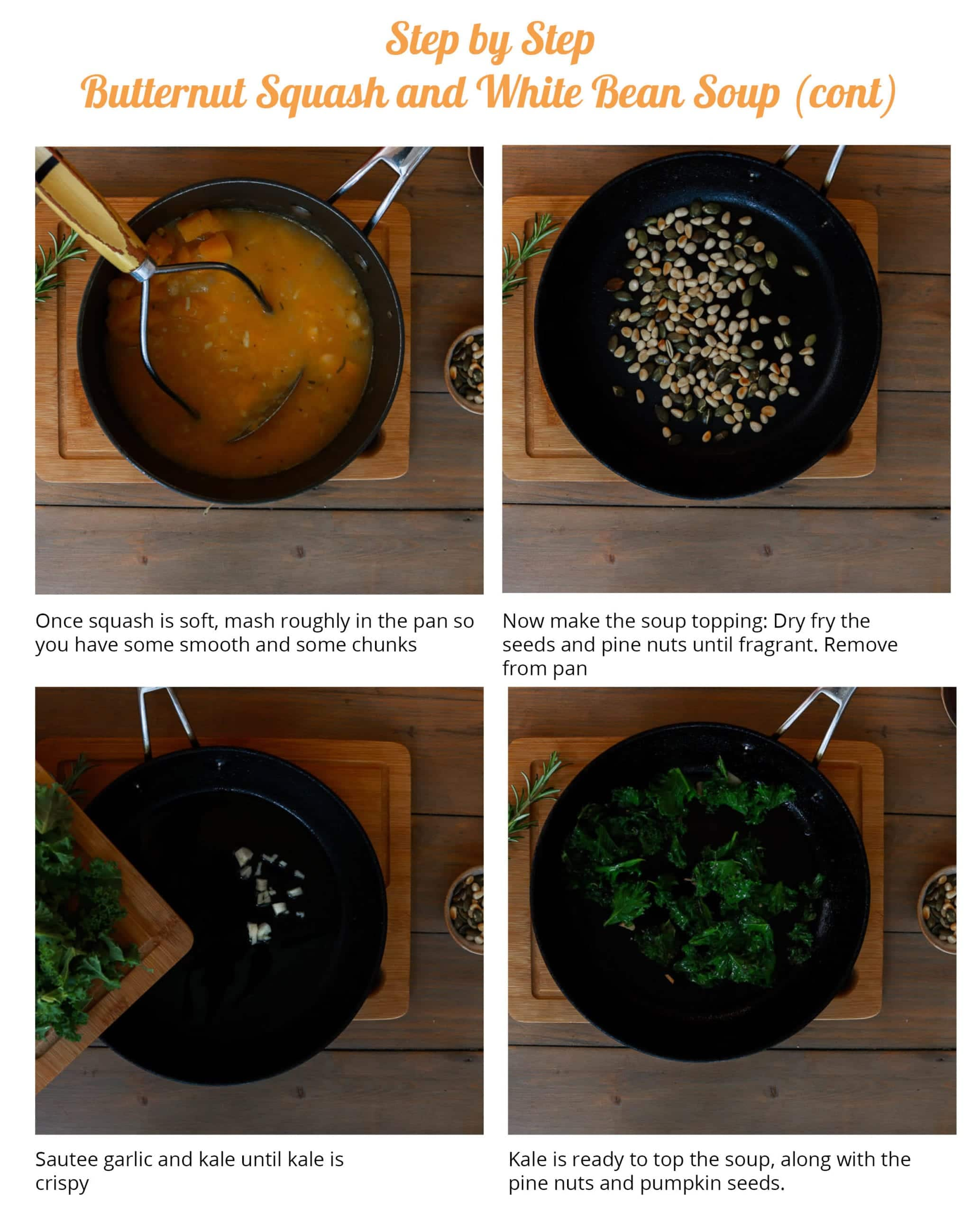 Step by step showing the kale and pine nut topping for the soup.