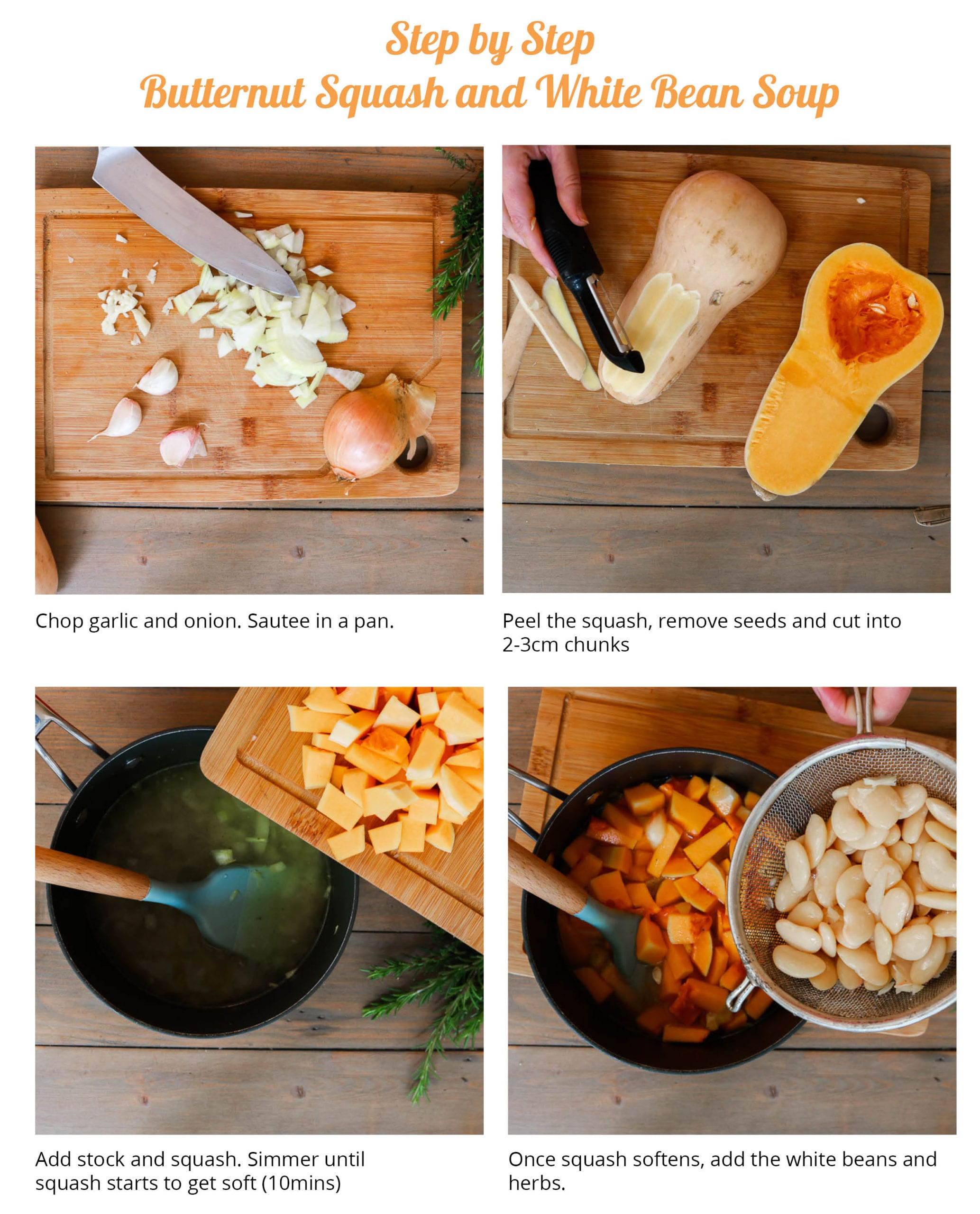 Step by Step butternut squash soup instructions.