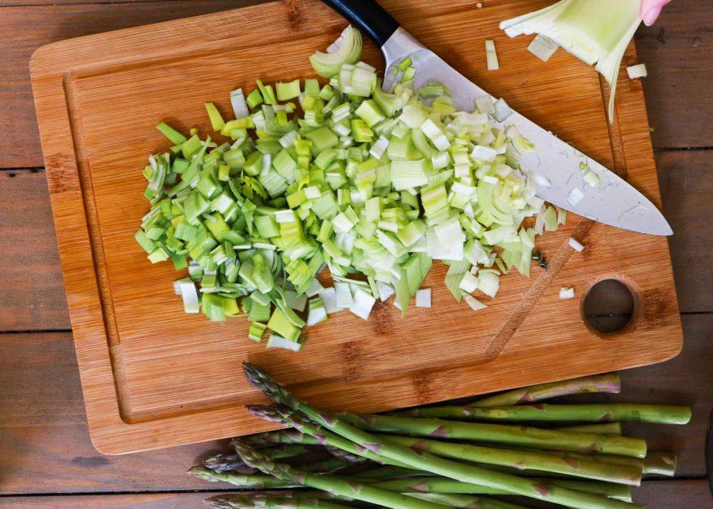 image showing leeks finely chopped