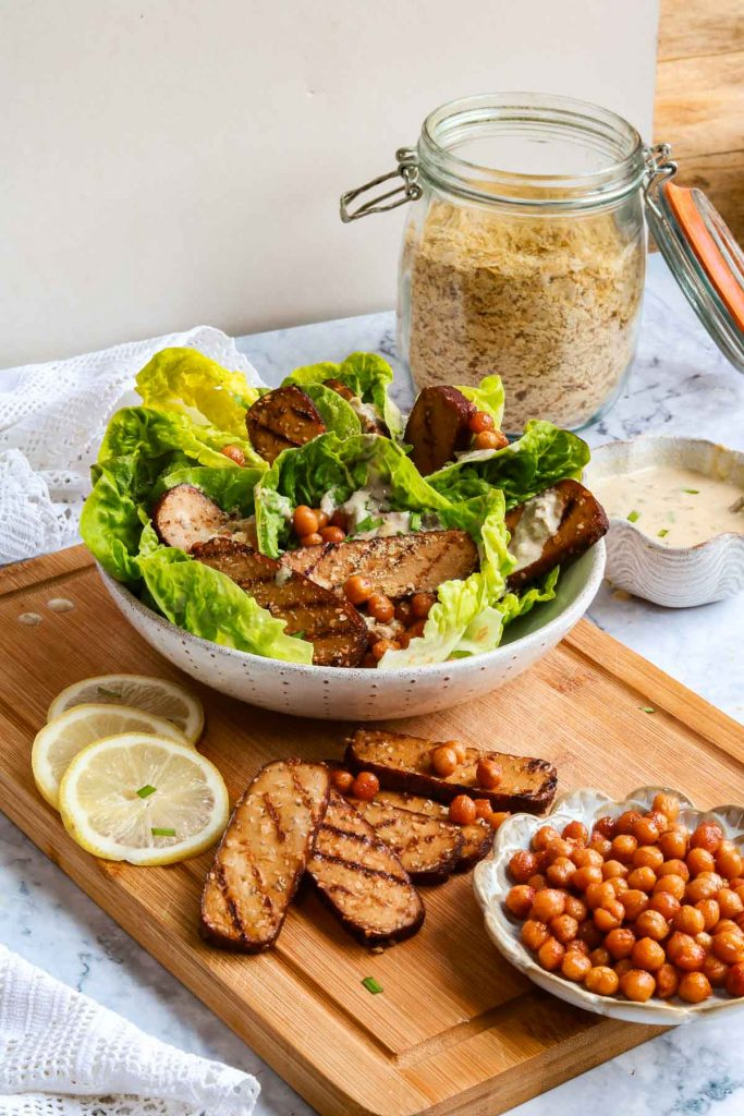 Caesar Salad with extra chickpea croutons