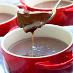 Vegan chocolate salted caramel pot with spoon
