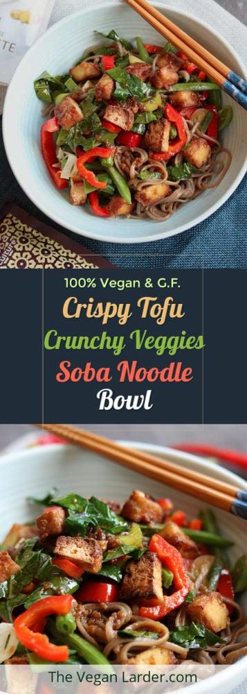Crispy Tofu, Crunchy Veggies, Soba Noodle Bowl Pinterest pin