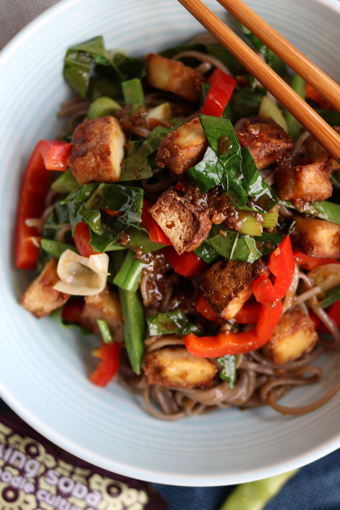 Crunchy Tofu, Veggies and Soba Noodle stir fry up close