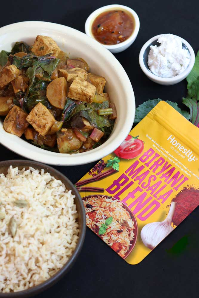 Potato, Tofu & Greens Honestly curry