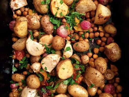 Potato, Radish Chickpea and Garlic Tray bake