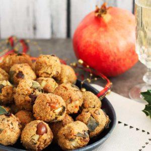 Vegan Tempeh balls on the Christmas table