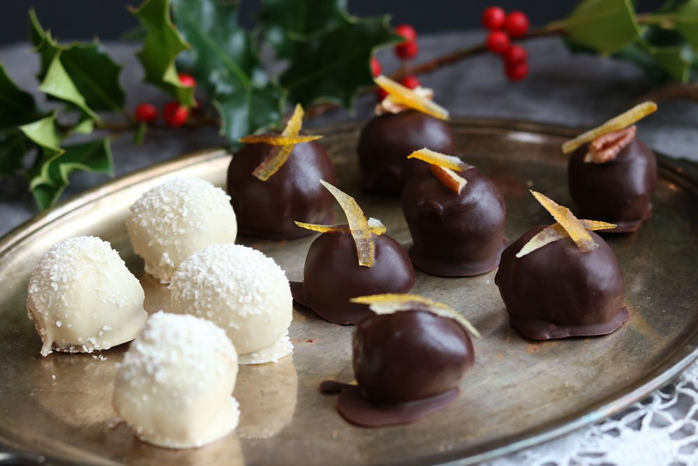 Three flavours Chocolate Truffles on a tray