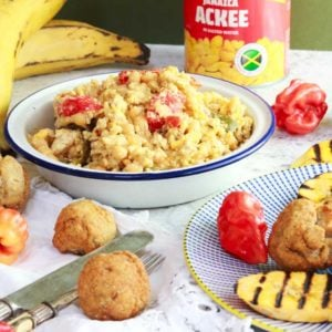 Ackee and Tofish with plantain and dumplings
