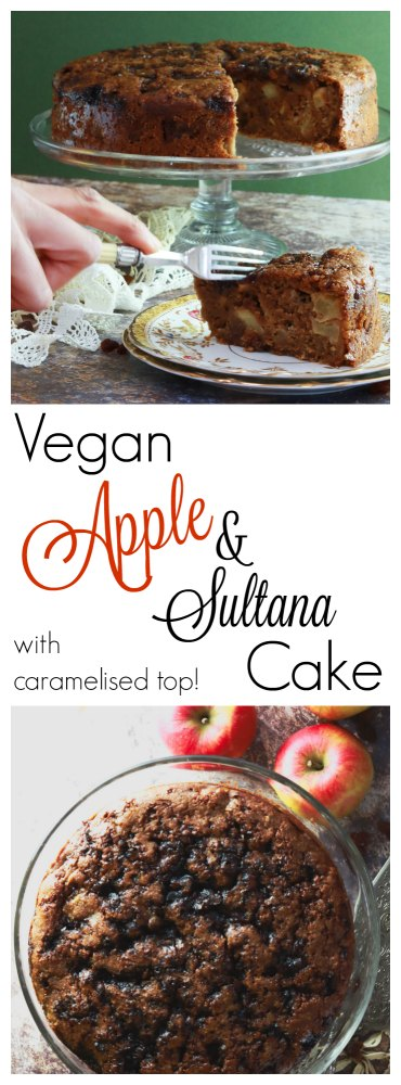 Vegan Apple and Sultana cake for pinterest