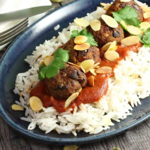 Saucy Moroccan Meatballs on a bed of rice