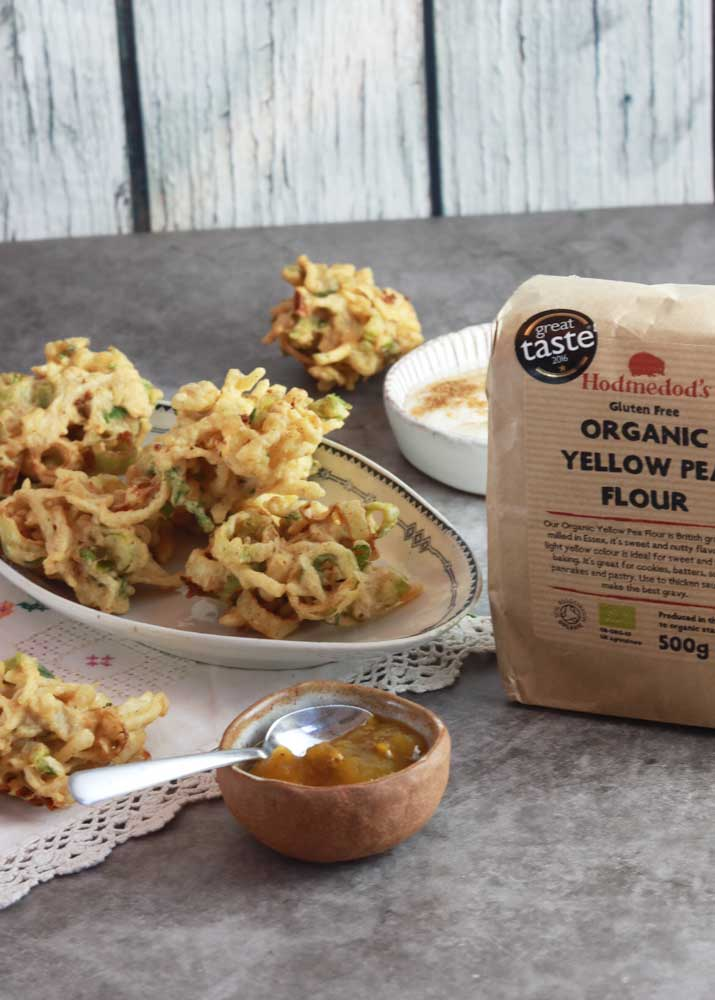 Celeriac and leek pakora with hodmedod flour