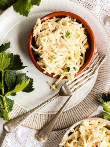 Celeriac remoulade on a plate.