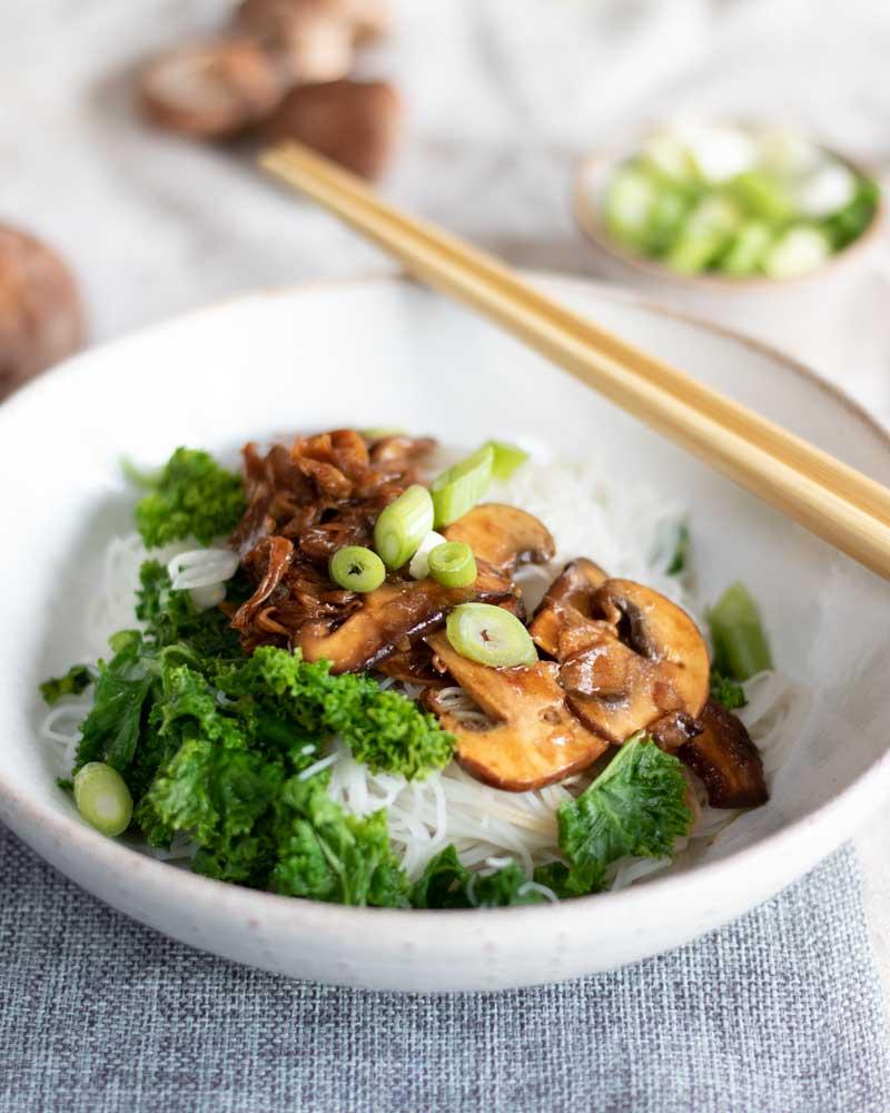 Hoisin Tofu Skin & Mushroom Noodle Bowl