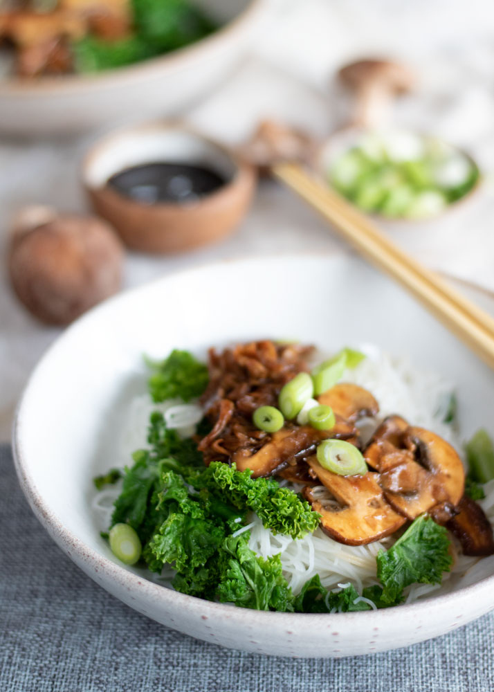 Hoisin Noodle bowl with mushrooms and kale on top.