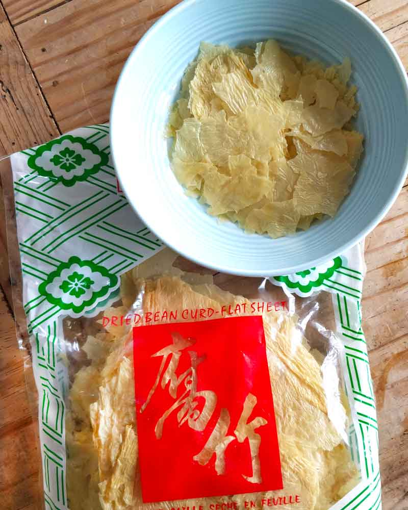 Tofu skin (Bean Curd Skin) in a packet and rehydrating