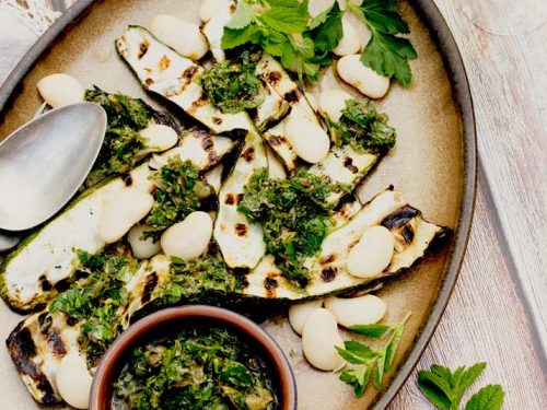Courgette and White Beans with Salsa Verde