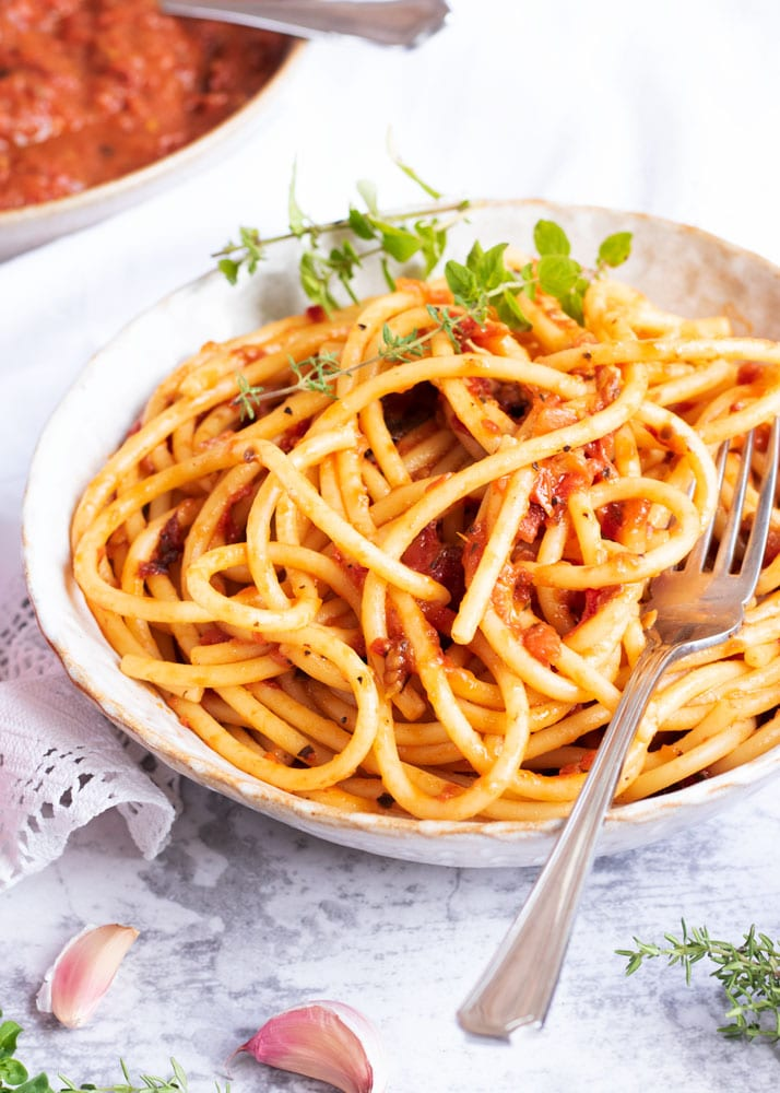 Roasted Tomato Sauce on Pasta