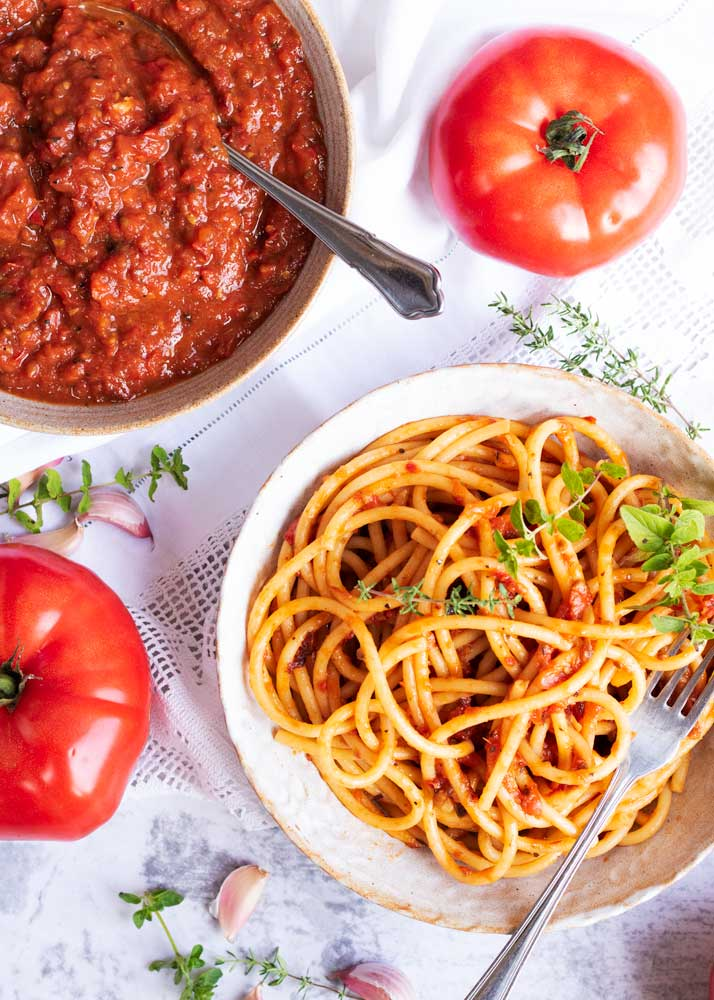 Roasted Tomato Sauce on pasta and a bowl of sauce