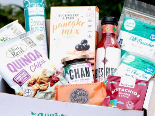August Vegan Larder Box displaying all the contents