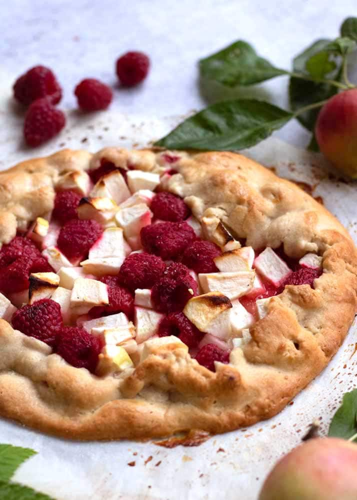Apple and Raspberry Galette from the side
