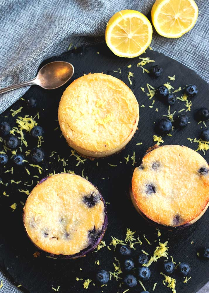 Lemon and Blueberry cheesecakes looking down over the top