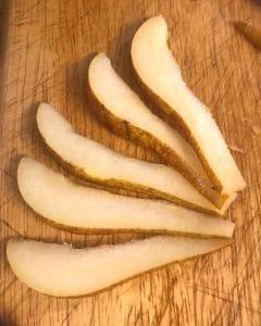 Pear cut into fan shape