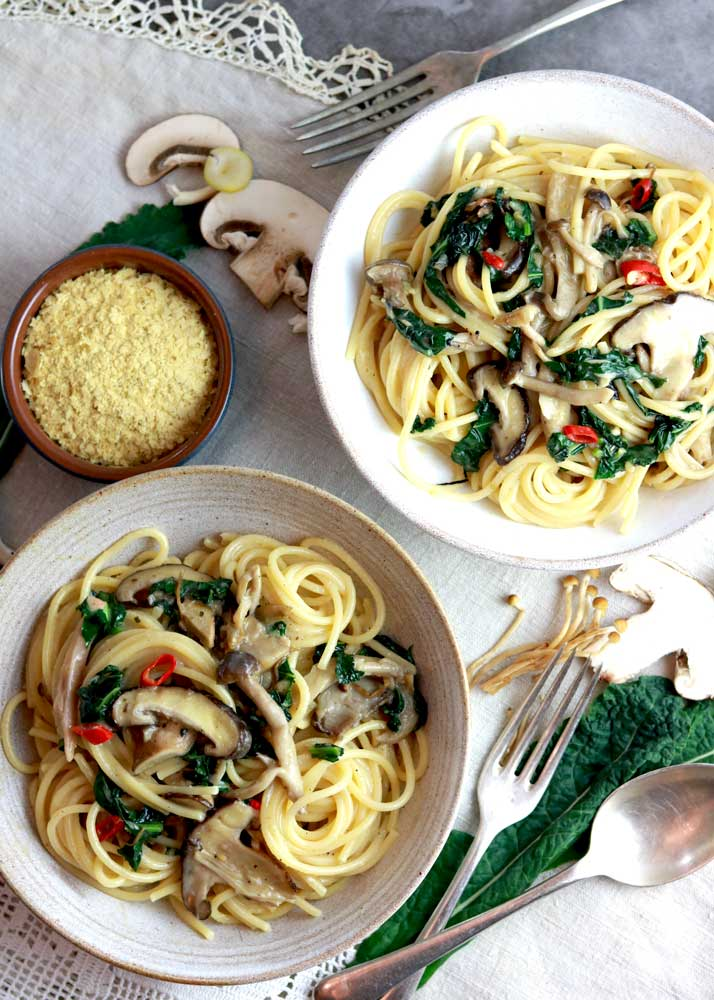 Smoked Garlic and Wild Mushroom pasta in bowls