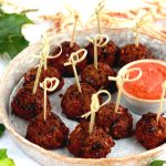 Sweet and Spicy Bean Balls ready to serve