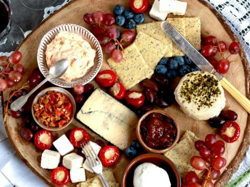 The best vegan cheeze board looking down over the top of it.