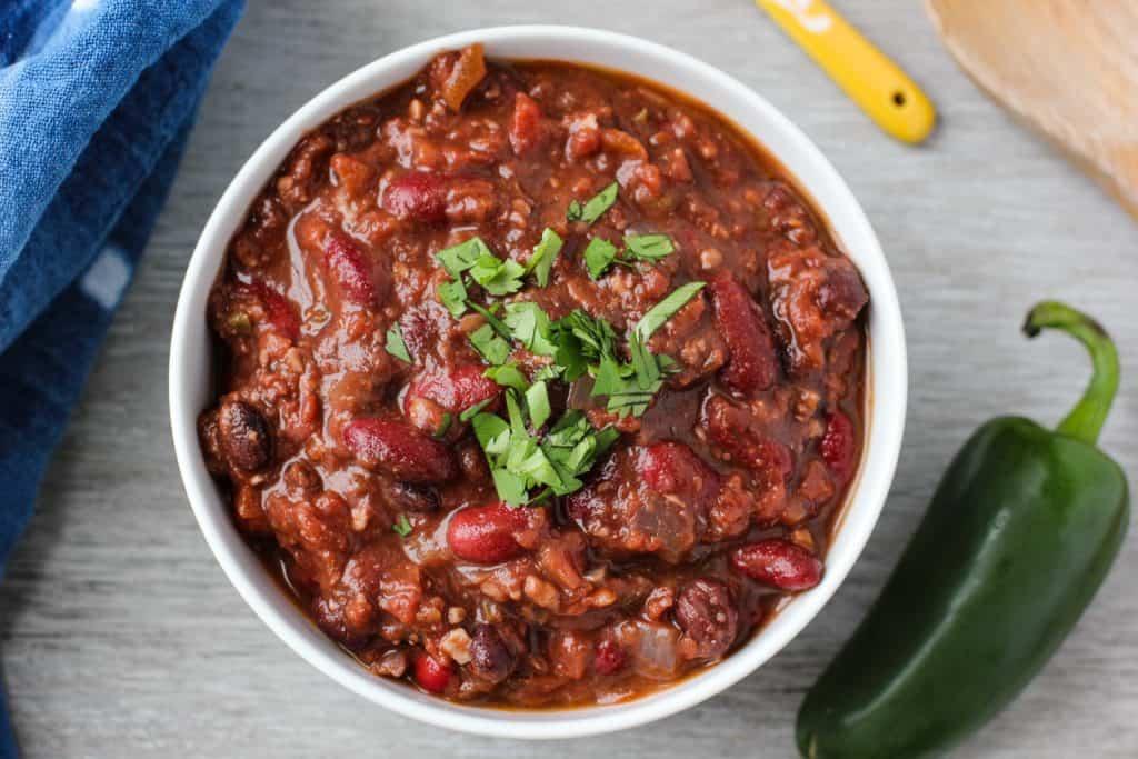 Vegan bean chili in a bowl